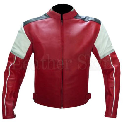 Red Biker Leather Jacket for Men with White Patch