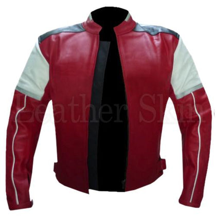 Men Real Leather Jacket in Red Color