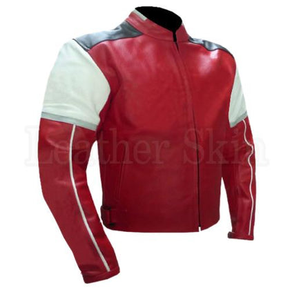 Men Red Biker Genuine Leather Jacket with White Shoulder