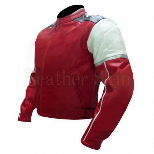 Red Motorcycle Leather Jacket with White Shoulder Patch