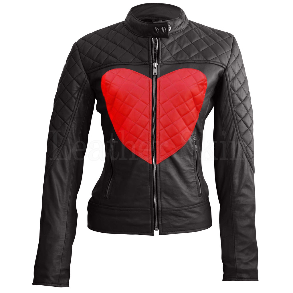 Leather Skin Women Shoulder Quilted Red Love Heart Genuine Leather Jacket