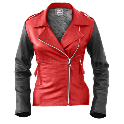 Leather Skin Women Red Brando Genuine Leather Jacket with Black Sleeves