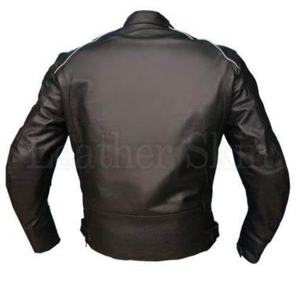 Men Black Biker Leather Jacket (Back)