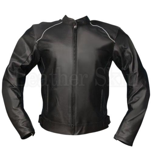 Men Black Biker Leather Jacket