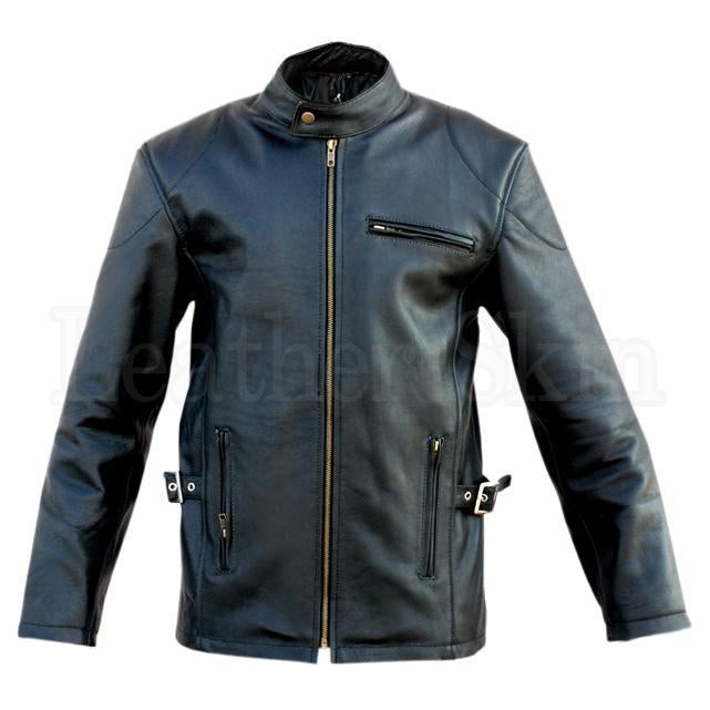 Leather Skin Men Black Fashion Premium Genuine Leather Jacket with Front & Side Pockets