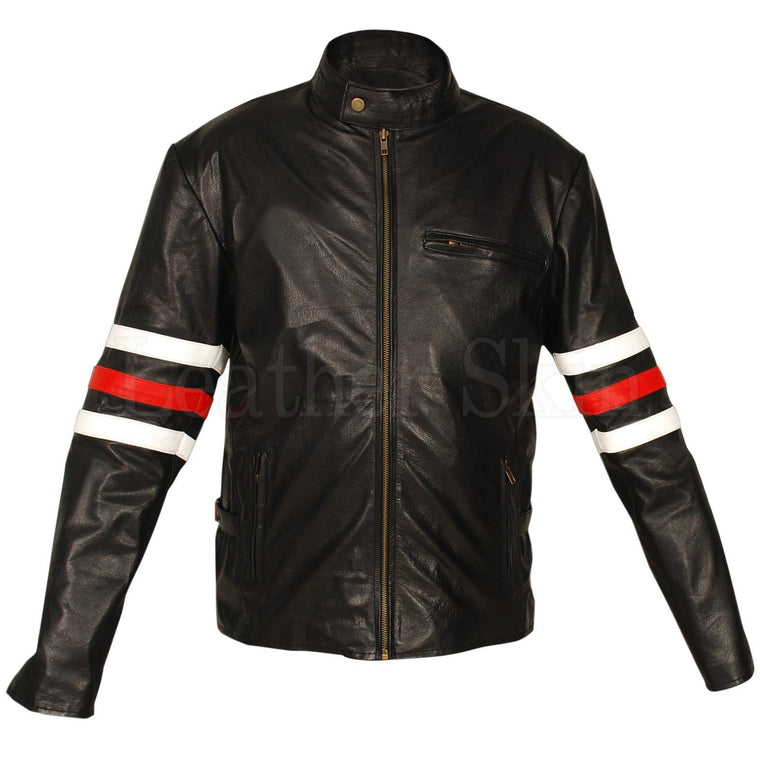 Leather Skin Men Black Premium Genuine Leather Jacket w/ White & Red sleeve rings