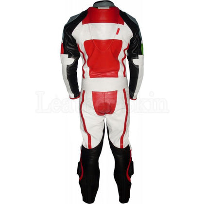 Men Genuine Leather Suit in Red Black White (Back)