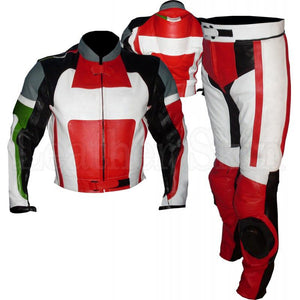 Red Biker Leather Suit with Black White Patches