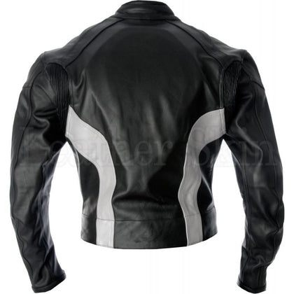 Men Black Real Leather Jacket for Racing