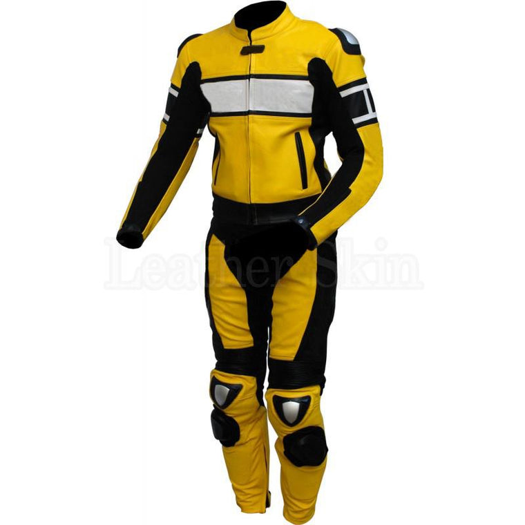 Leather Skin Yellow White Biker Motorcycle Racing Premium Genuine Leather Suit
