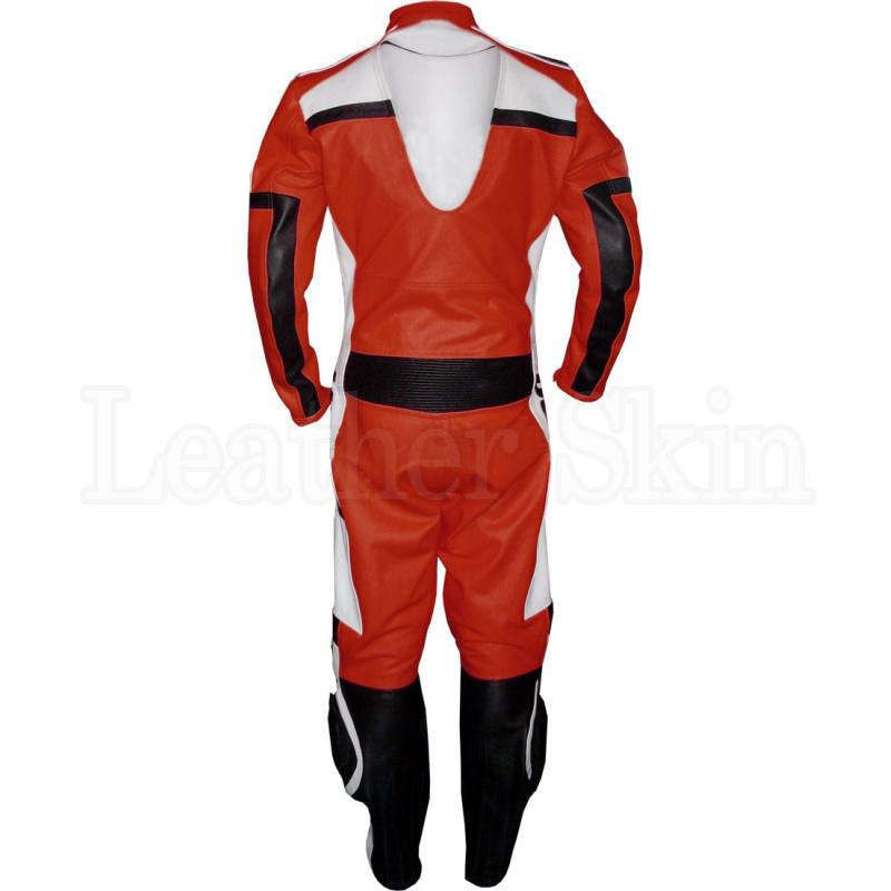 Men Orange Real Leather Jacket with White Chest (Back)
