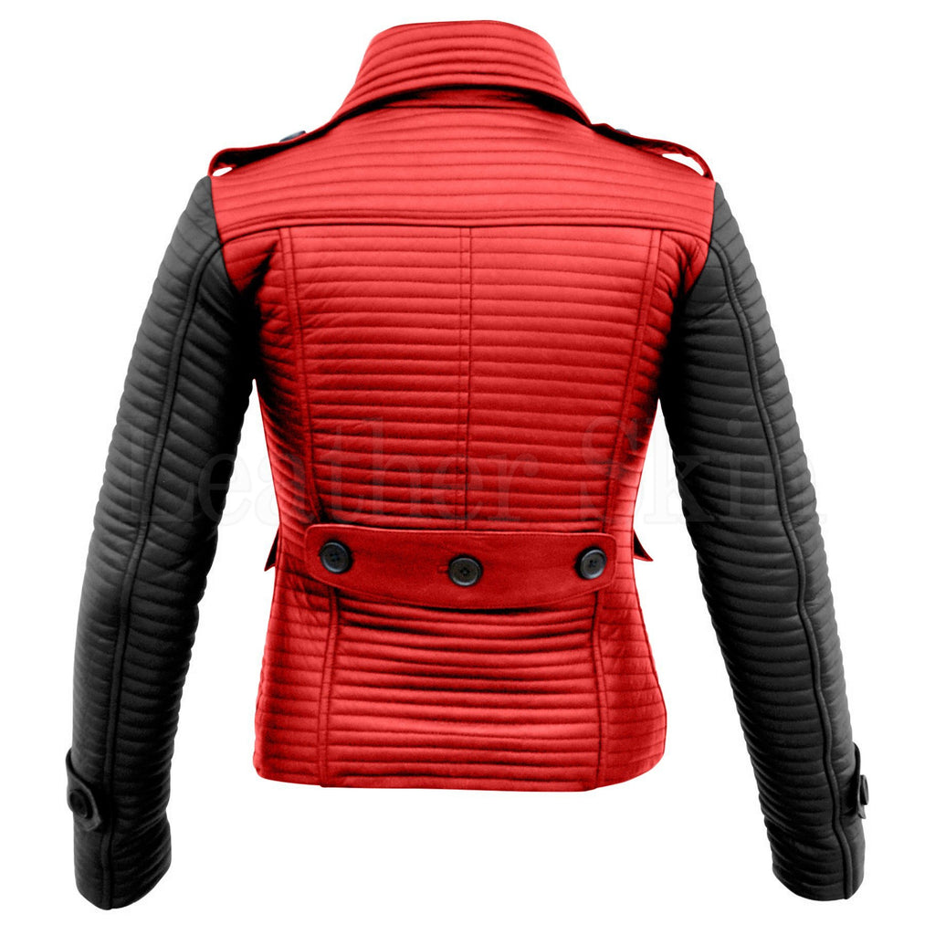 Leather Skin Women Red Rib Quilted Genuine Leather Jacket with Black Sleeves
