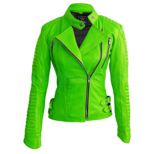 Leather Skin Women Parrot Green Brando Shoulder Padded Genuine Leather Jacket