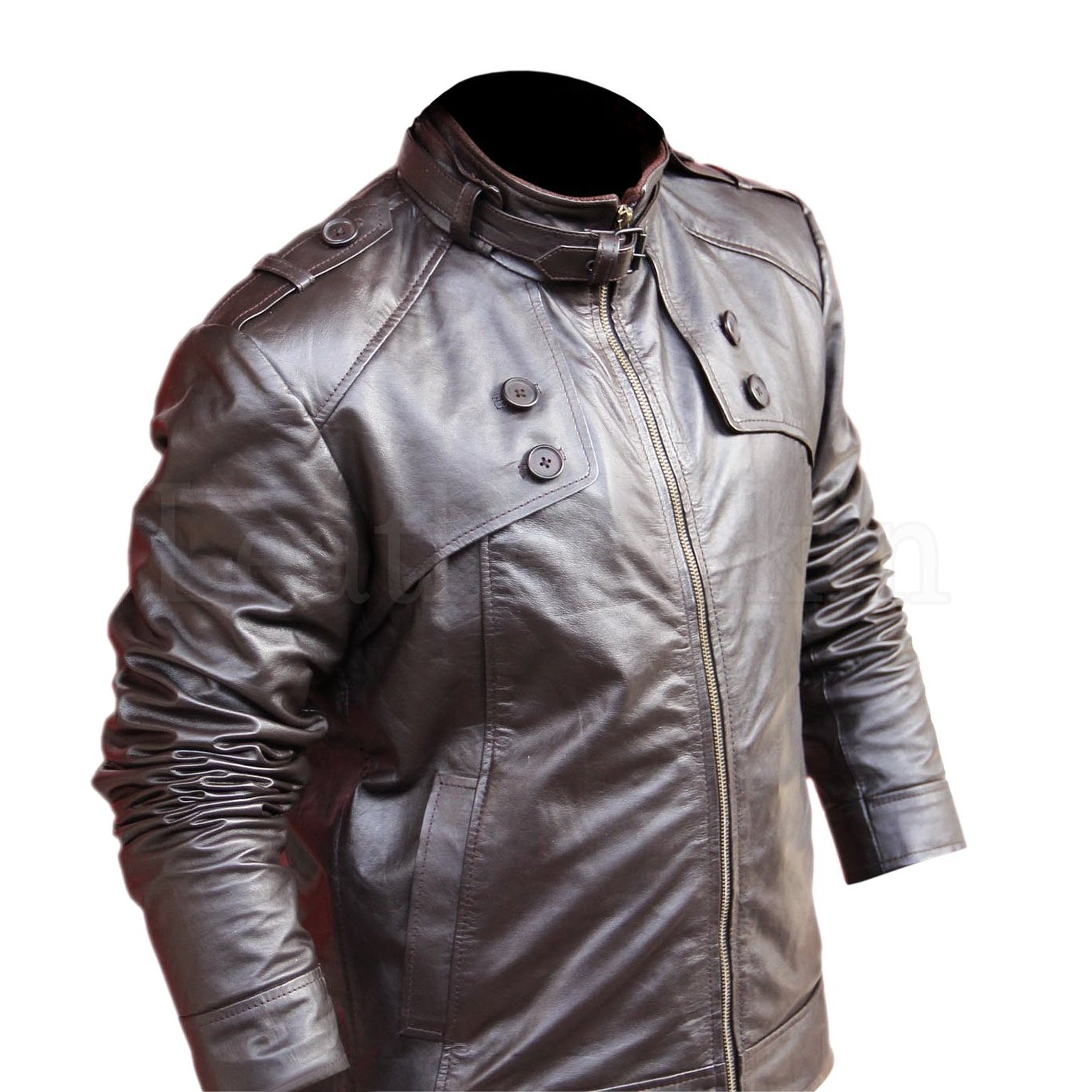 Men Brown Genuine Leather Jacket with Chest Buttons