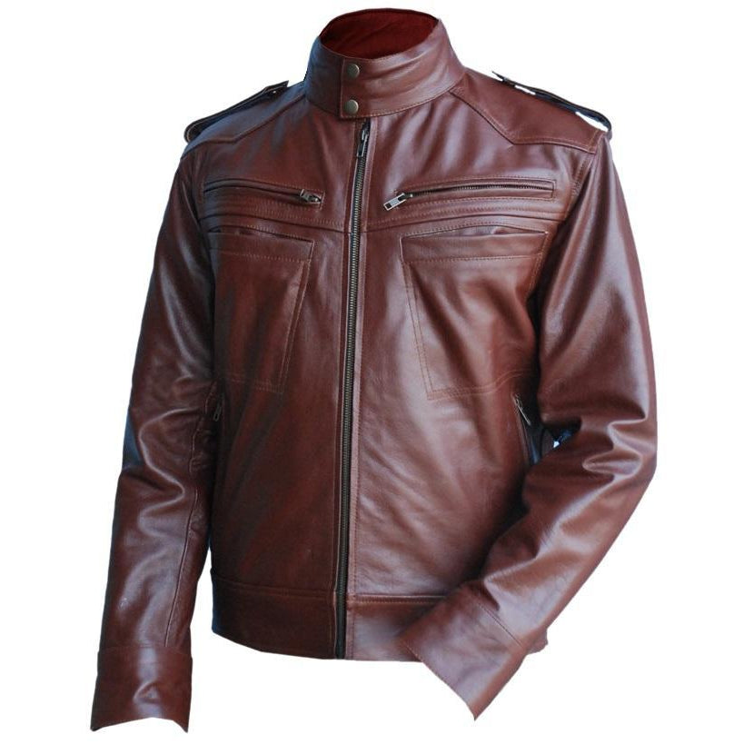 Leather Skin Men Reddish Brown Genuine Leather Jacket