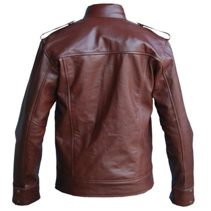 Men Reddish Brown Real Leather Jacket for Motorcycle Racing