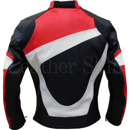 Motorcycle Leather Jacket with Red White Stripes (Back)