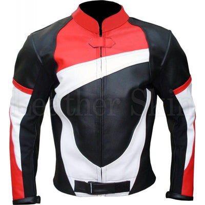 Men Black Genuine Biker Leather Jacket White Red Stripes