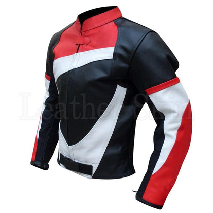 Men Black Real Leather Jacket White Red Stripes
