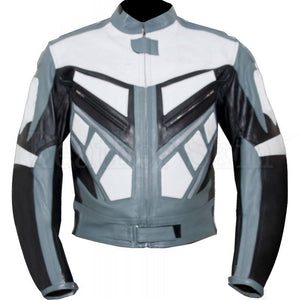 Leather Skin Gray White Biker Motorcycle Racing Premium Genuine Leather Jacket