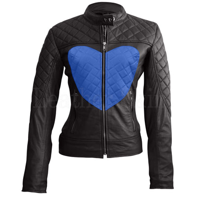 Leather Skin Women Shoulder Quilted Blue Love Heart Genuine Leather Jacket