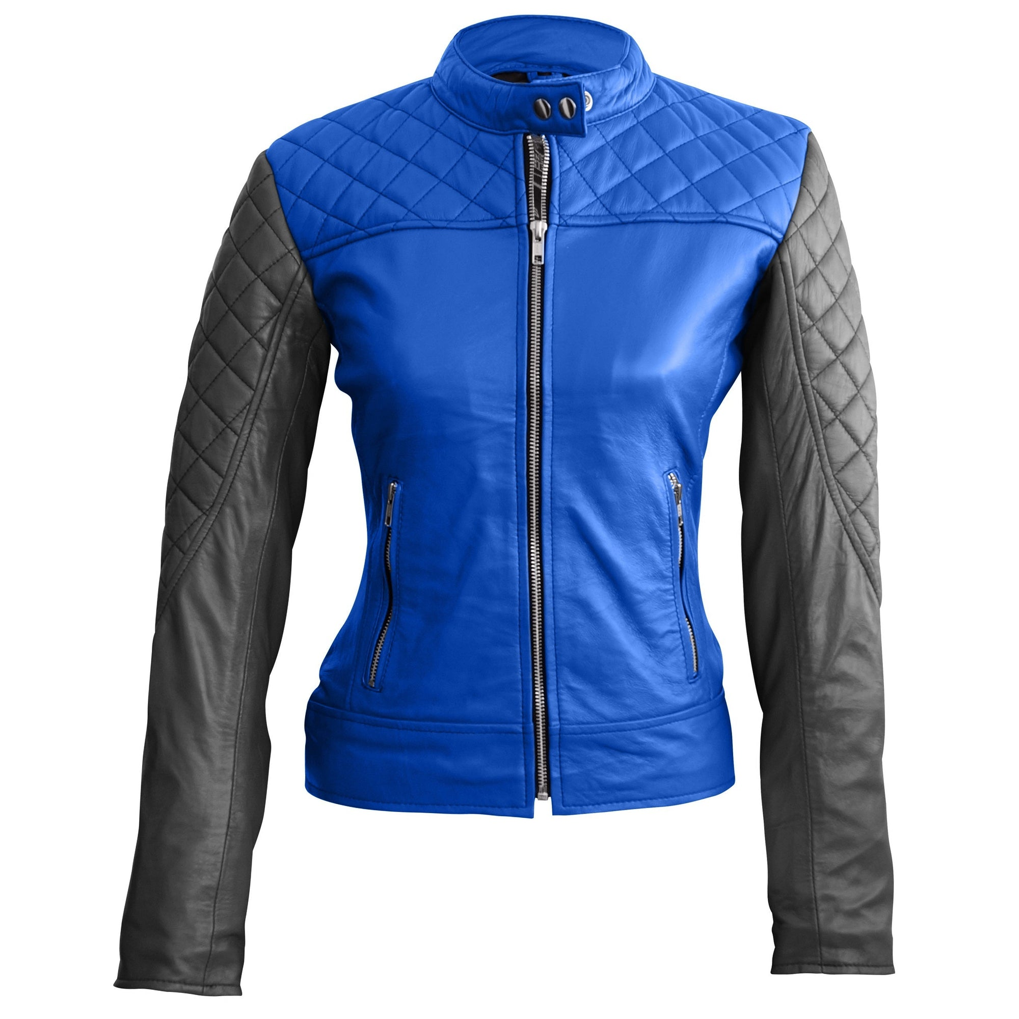 Leather Skin Women Blue with Black Sleeves Shoulder Quilted Genuine Leather Jacket