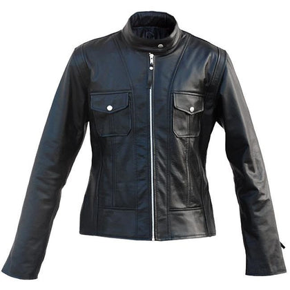 Leather Skin Black Unisex Premium Genuine Leather Jacket w/ Front Pockets