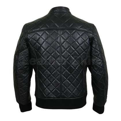 Leather Skin Men Black Diamond Quilted Genuine Leather Jacket