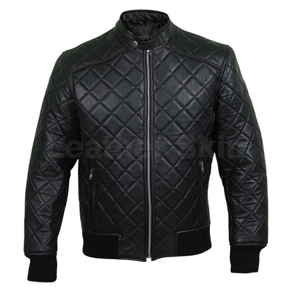 mens black quilted leather jacket