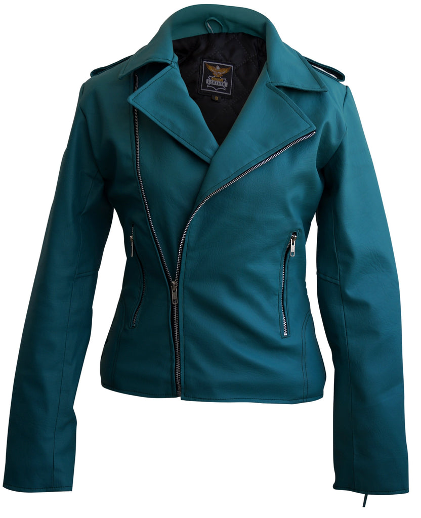 Ladies Sea Green Faux Leather Jacket