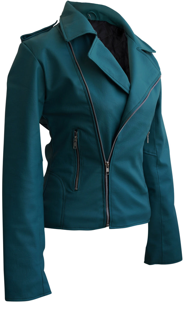Leather Skin Sea Green Women Ladies Brando Style Synthetic Leather Jacket