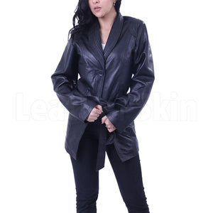 Leather Skin Women Black Belted Fashion Premium Genuine Leather Coat