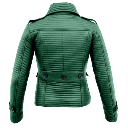 Leather Skin Women Green Rib Quilted Genuine Leather Jacket