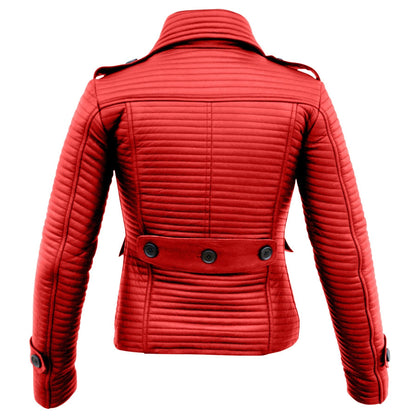 Leather Skin Women Red Rib Quilted Genuine Leather Jacket