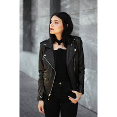 Leather Skin Brando Women Black Biker Motorcycle Leather Jacket