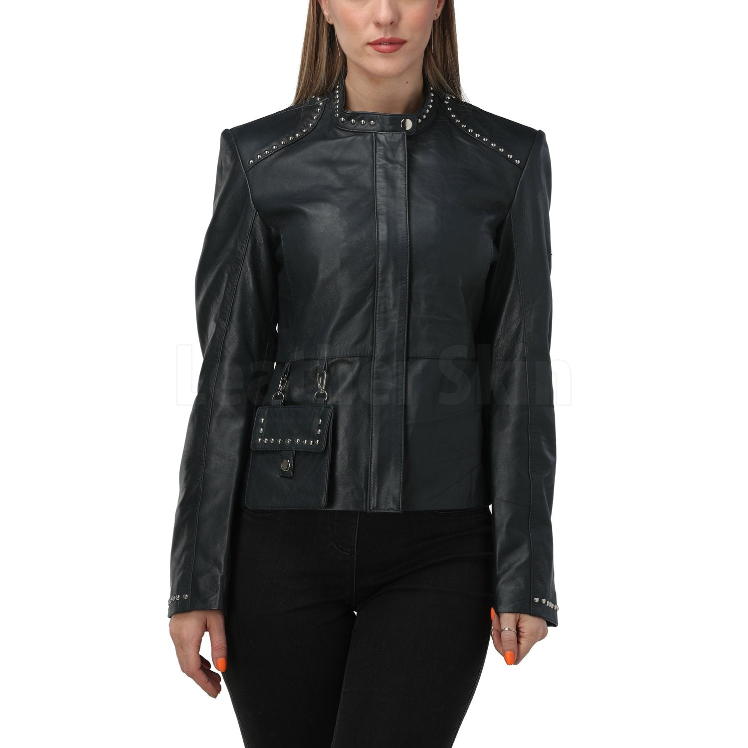 Luna Navy Blue Studded Leather Jacket