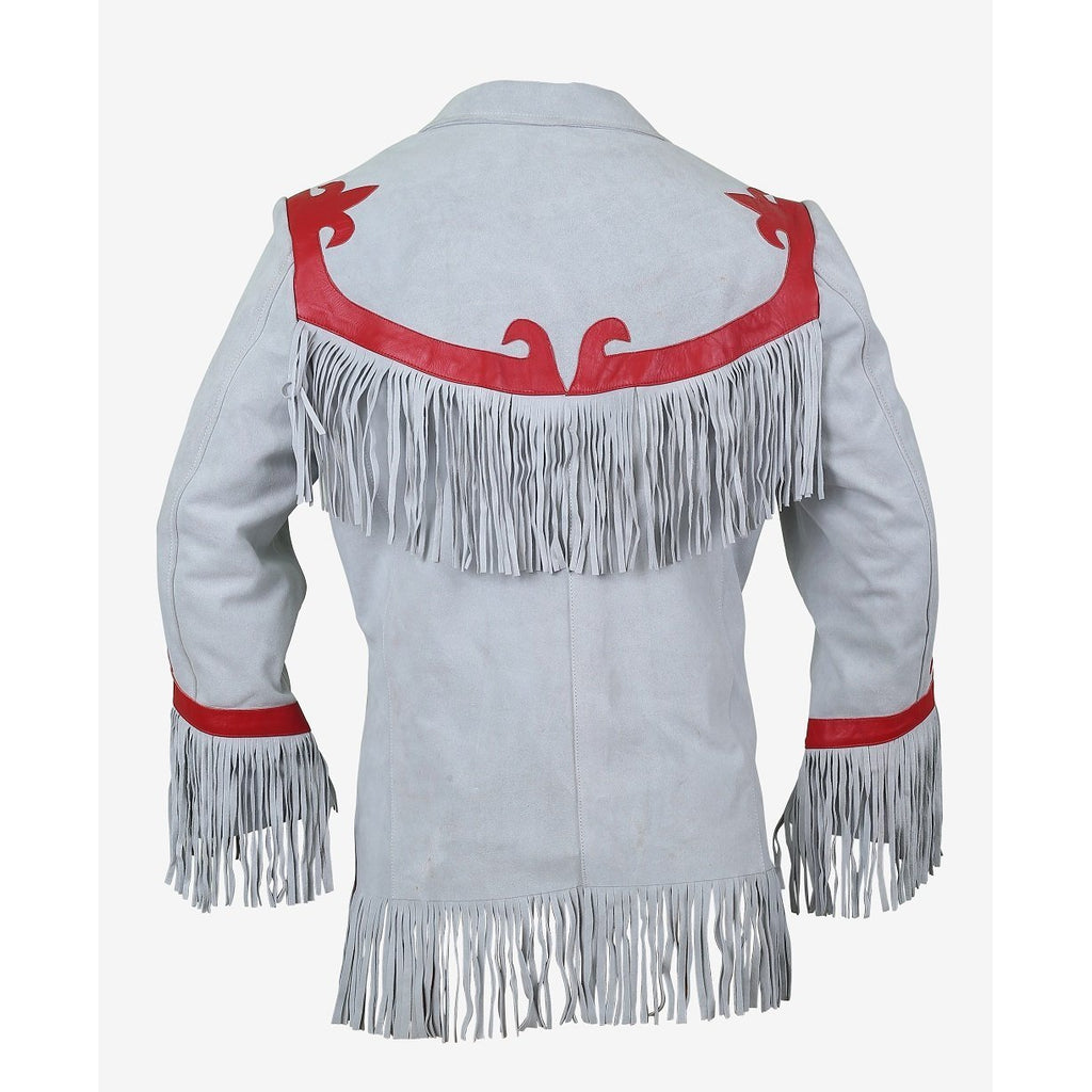 Luxurious Cloud Leather Blazer with Fringes