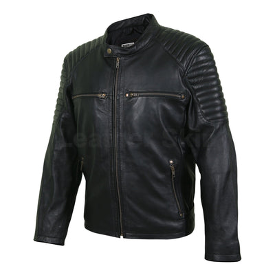 black genuine leather jacket mens