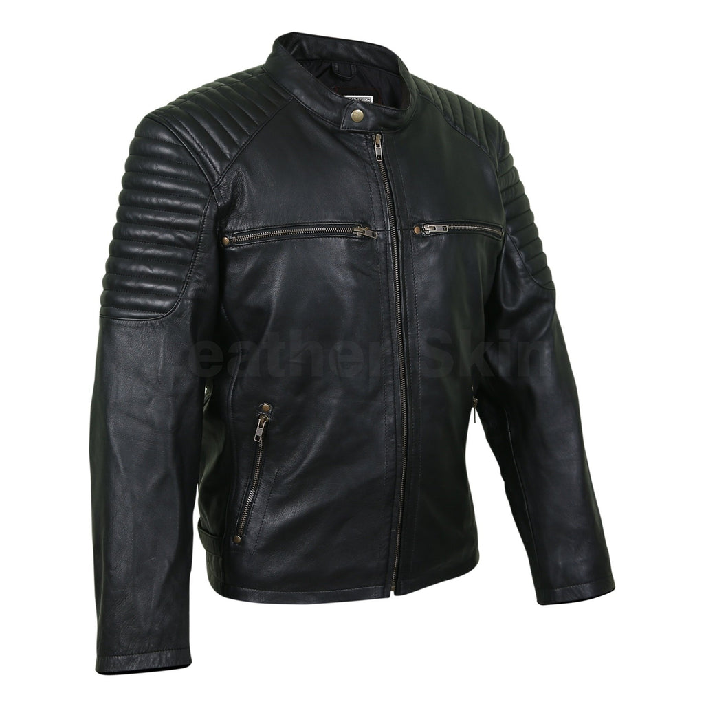 mens black real leather jacket quilted