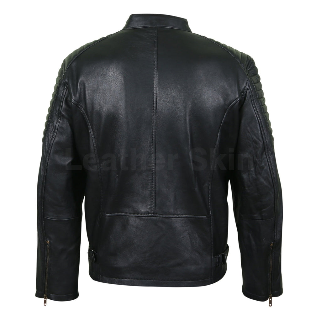 Men Antique Zippers Black Leather Jacket with Padded Shoulders