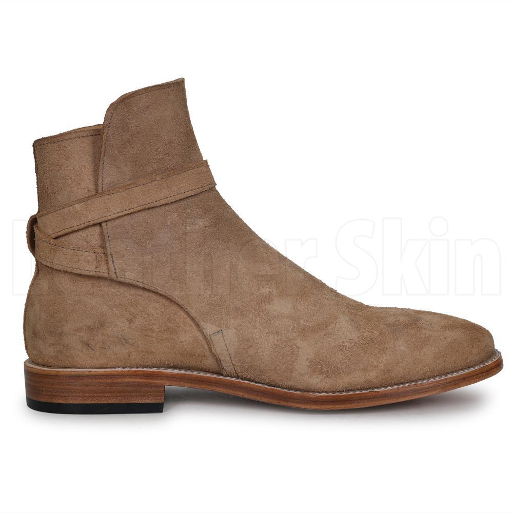 Men Beige Jodhpurs Ankle Suede Leather Boots
