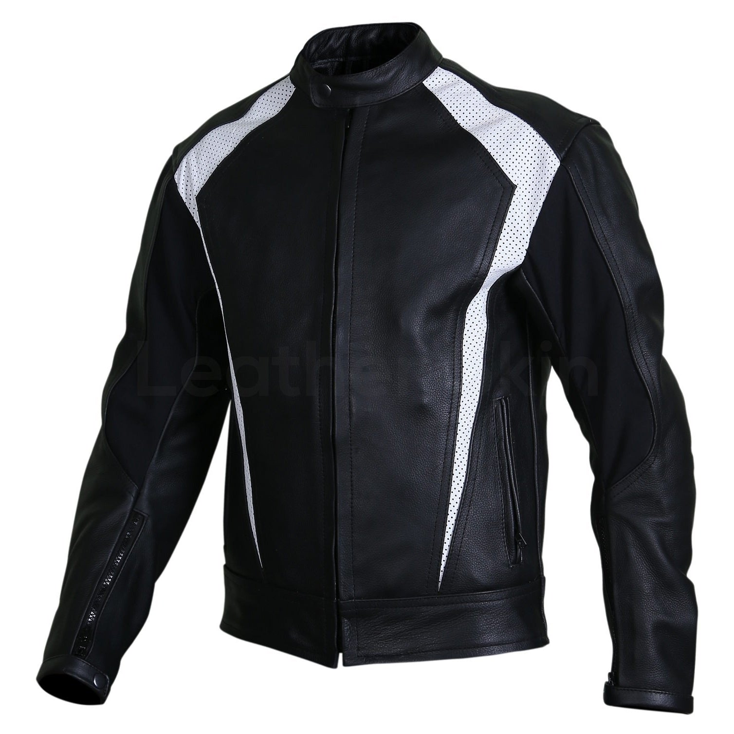 black biker jacket with perforation