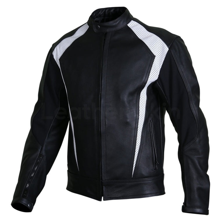 Men Black Biker Motorcycle Leather Jacket with White Perforated Stripe Panels