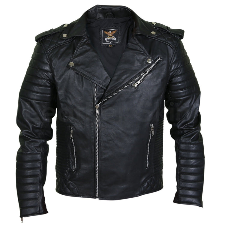 Men Black Brando Motorcycle Leather Jacket with shoulder epaulets and padded sleeves