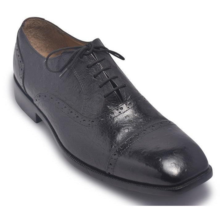 Men Black Brogue Glossy Oxford Genuine Leather Shoes