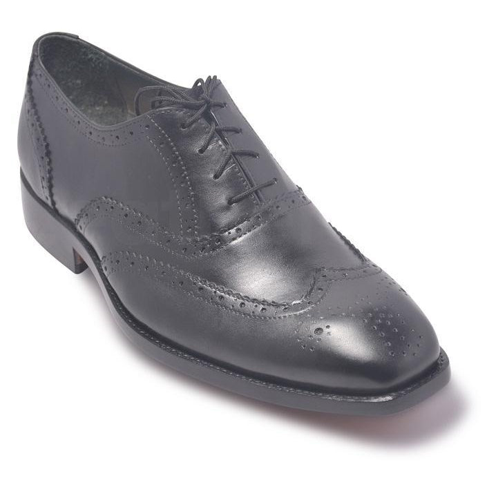 Men Black Brogue Oxford Genuine Leather Shoes