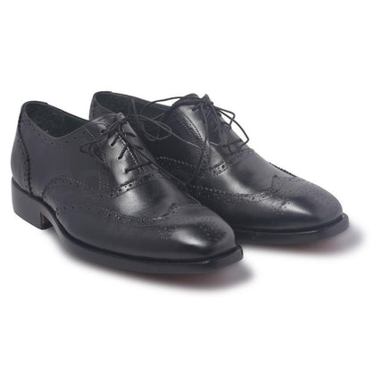 wingtip leather shoes black