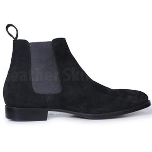 Men Black Chelsea Pull On Suede Leather Boots