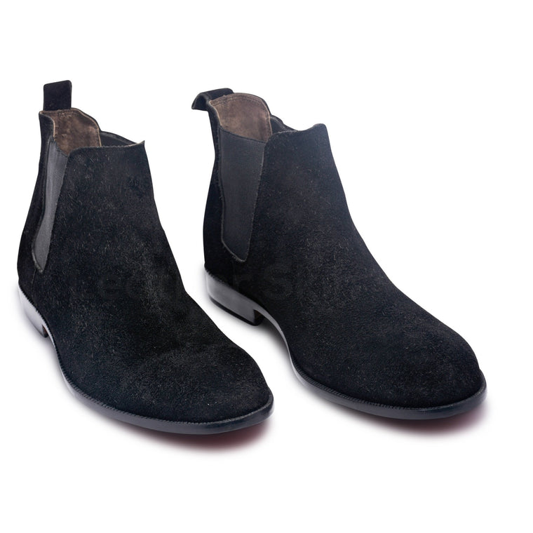 Men Black Chelsea Suede Leather Boots