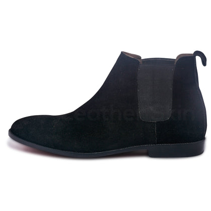 mens black chelsea boots with gray elastic